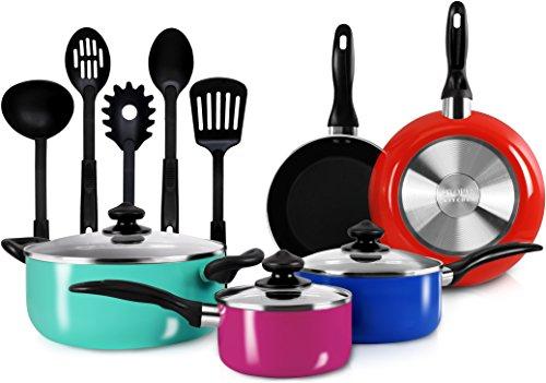 13-Pieces Kitchen Cookware Set - Colored Pots...