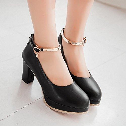 Latasa Mode Féminine Cheville-sangle Plate-forme À Talons Hauts Chaussures Décontractées Chaussures Noires
