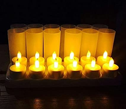12pcs/set Remote Controlled Led Candles Flickering Frosted Rechargeable Tea Lights/electronics Candle Lamp Wedding Pary Light Lights & Lighting