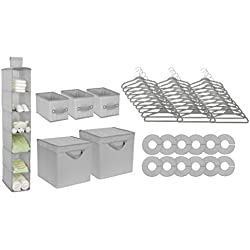 Delta Children Nursery Storage Set, Dove Grey, 48 Count