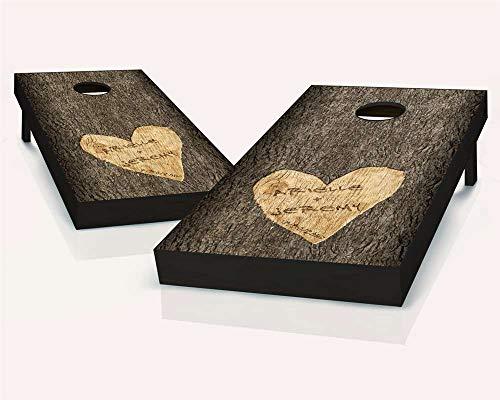 (Skip's Garage Personalized Wedding Carved Tree Cornhole Set - 2x4 (24