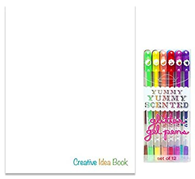 "Blank Book & Yummy Glitter Gel Pen Set for Kids - Blank Book (11"" x 8.5"") 100 Numbered Pages, Sturdy Paperback & 12 Yummy Pens - Draw, Create Your Own Book, Journal, Story for Girls & Boys"