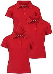 Beverly Hills Polo Club Girls Short Sleeve School Uniform Knit Polo Shirts (3 Pack)