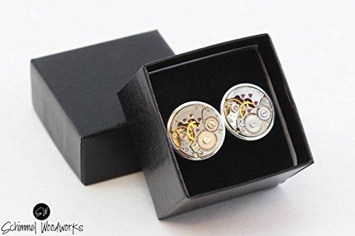 Men Steampunk Cufflinks with thick bezel - Luxury Handmade Chrome Metal Vintage Watch Movement Steampunk Cufflinks / Cuff Links Wedding Gift ()