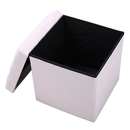 Upholstered Storage Ottoman Beige Fabric Cube,15''x15''x15'',QVB Beige Color (Upholstered Cube Ottoman)