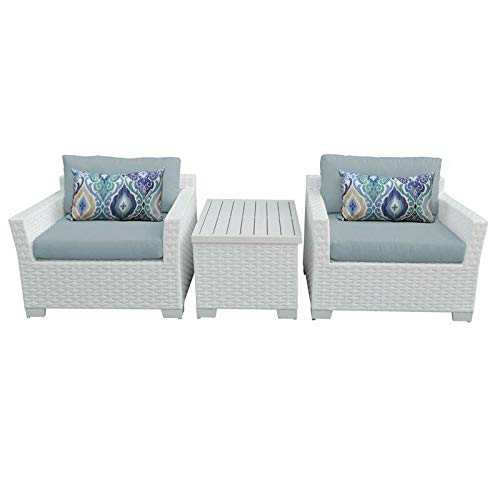 JumpingLight Monaco 3 Piece Outdoor Wicker Patio Furniture Set 03a in Spa Durable and Ideal for Patio and Backyard