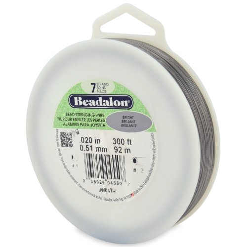Beadalon 7-Strand Bead Stringing Wire, 0.020-Inch, Bright, 300-Feet (Bright Beadalon 7 Strand Beading)