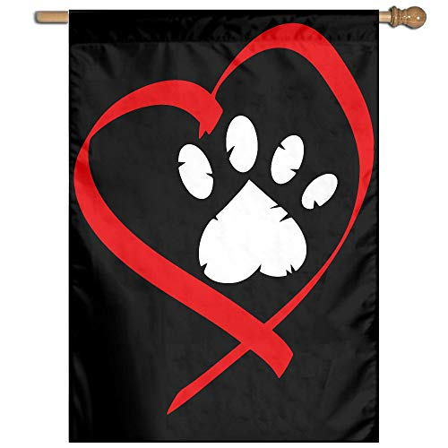 MKLNHBGFCH37 Heart Paw Print Clipart-1 Welcome Garden Flag Yard Flag Family Flag 27