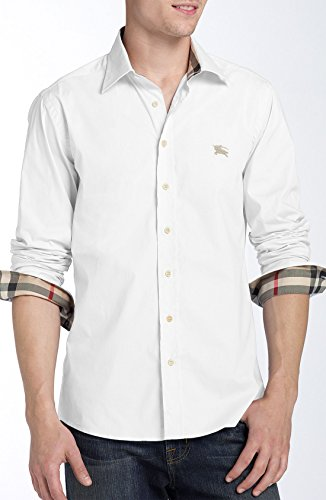 Burberry Brit Men's White Henry Trim Fit Stretch Cotton Logo Sport Shirt - Logo Burberry Brit