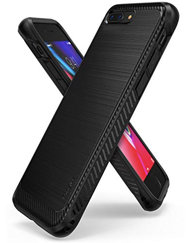 Ringke [Onyx] Compatible with iPhone 7 Plus, iPhone 8 Plus Case [Extreme Tough] Brushed Metal Texured Design, Edgy Carbon-Fiber Trim Dynamic Durable Anti-Slip, TPU Impact Shock-Absorbent Case - Black
