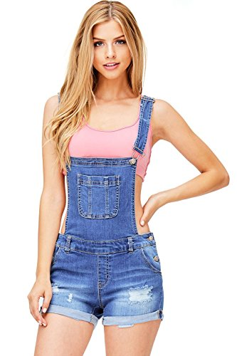 Wax Women's Juniors Cute Denim Overall Shorts (M, Medium Denim) by Wax
