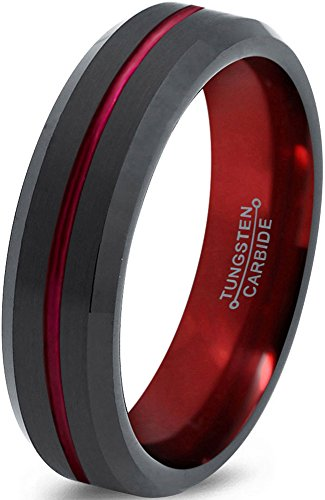 Tungsten Wedding Band Ring 6mm for Men Women Red Black Beveled Edge Brushed Polished Center Line Lifetime Guarantee