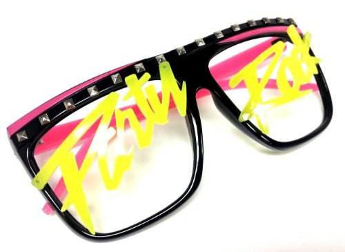 Novelty Costume Party Rock Flat Top LMFAO glasses music video shade eywear (Black/Hot - Party Glasses Rock