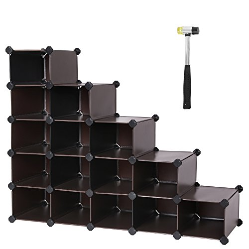 "SONGMICS Shoe Rack,16-cube Modular Cube Storage,DIY Plastic Storage Organizer Units, Closet Cabinet for Bedroom, Living room, Office 35.8""L x 14.2""W x 28.0""H Brown ULPC44Z by SONGMICS"