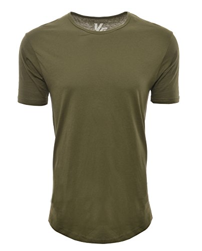 YoungLA Long Workout Shirts for Men Basic Elongated Drop Tail Hipster T-Shirts 411 Olive Medium