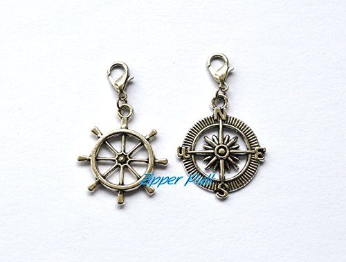 Silver Compass Rudder Charms Pendant Steering wheel Charms ,Silver Compass, Rudder ,Compass Pendant, Nautical Charms ,Zipper Pull, Perfect for Necklaces, Bracelets , keychain and earrings from ZipperPull