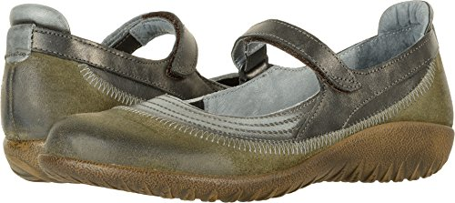 Naot Footwear Women's Kirei Oily Olive Suede/Vintage Smoke Leather/Black Pearl Leather Mary Jane
