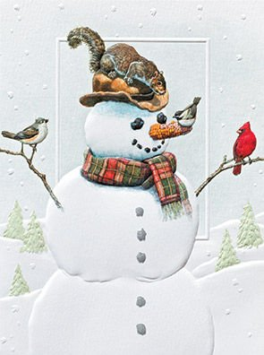 Pumpernickel Press Dinner with Friends Embossed Snowman Petite Boxed Holiday Cards- Set of -