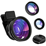 Hvspring smartphone Optical glass Camera lens kit for iPhone 8/7/6 Plus Samsung and Most of Smartphone, More Beautiful Pictures With the iPhone lens, 0.45X 140° Wide Angle Lens 12.5X Macro Lens (2in1)