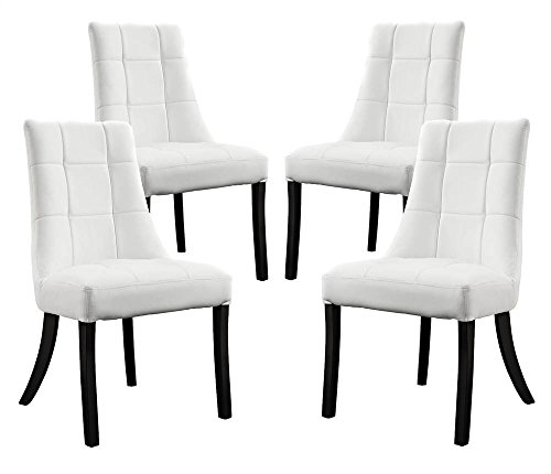 (Modway Noblesse Vinyl Dining Side Chairs in White - Set of 4)