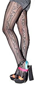 Steampunk Tights  & Socks Silver Rose Garden Pattern Tight Stocking $6.99 AT vintagedancer.com