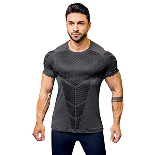 Zackate Men's Slim Fit O Neck Short Sleeve Compression Baselayer T-Shirt Sporty Sweatshirts Top Blouse -