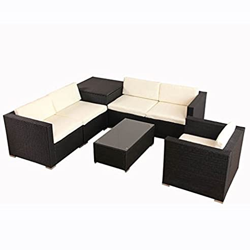 Superior POLY RATTAN Lounge Gartenset Schwarz Sofa Garnitur Polyrattan Gartenmöbel  Inkl. Kissenbox