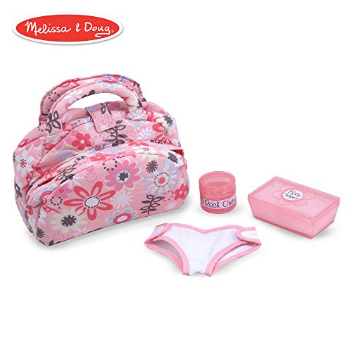 Melissa & Doug Mine to Love Diaper Bag Set, Dolls & Dollhouses, Fabric Bag with Two Compartments, Self-Stick Cloth Diaper, 10.75