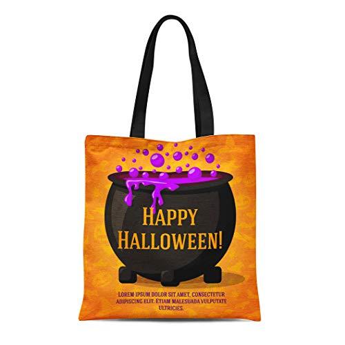 Semtomn Canvas Tote Bag Shoulder Bags Happy Halloween Cute Retro Craft Black Witch Cauldron Boiling Women's Handle Shoulder Tote Shopper Handbag ()