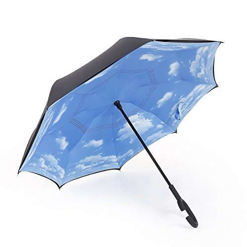 Agile-Shop Windproof Reverse Folding Double Layer Inverted Umbrella and Self Standing Inside Out Rain Protection Umbrella with C-shape Hands Free Handle for Car Travel (Sky Blue) by Agile-shop (Image #1)