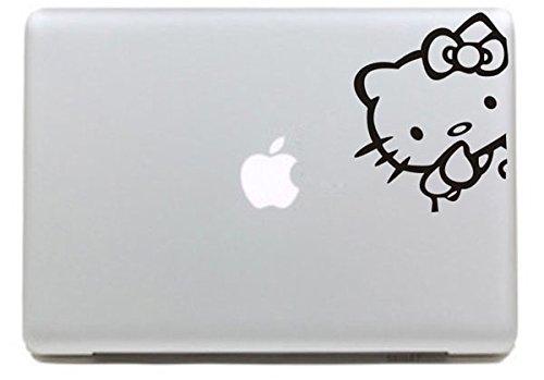 Vati Leaves Removable Cute Hello Kitty Decal Sticker Skin Art Black for Apple Macbook Pro Air Mac 13