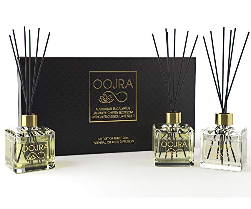 OOJRA 3 (2oz) Essential Oil Reed Diffusers Aromatherapy Gift Set; Australian Eucalyptus, Japanese Cherry Blossom, French Provence Lavender; Decor Bottle 6oz Total (Lasts 5+ Months)