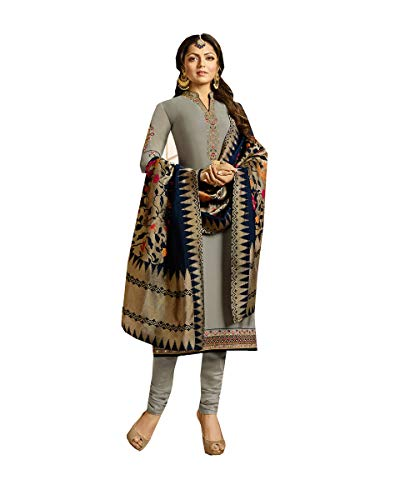(Delisa Indian/Pakistani Fashion Salwar Kameez for Women 02 (Grey, LARGE-42))