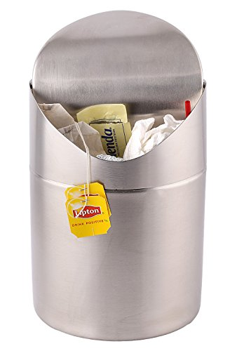 Estilo Mini Countertop Trash Can, Brushed Stainless Steel, Swing Top Trash Bin 1.5 L/0.40 Gal