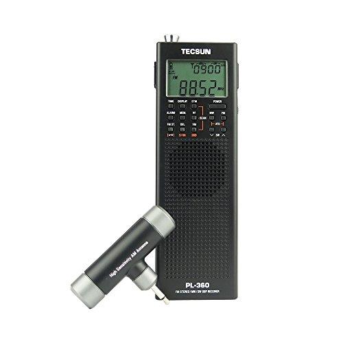 - TECSUN Pl-360 Radio Digital PLL Portable Radio FM Stereo/LW/SW/MW DSP Receiver (Black)