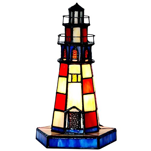 - Bieye L11005 10-inches Lighthouse Tiffany Style Stained Glass Accent Table Lamp