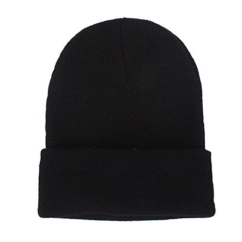 CANCA Unisex Cuff Warm Winter Hat Knit Plain Skull Beanie Toboggan Knit Hat/Cap (Black) (Beanie Solid Winter Long)