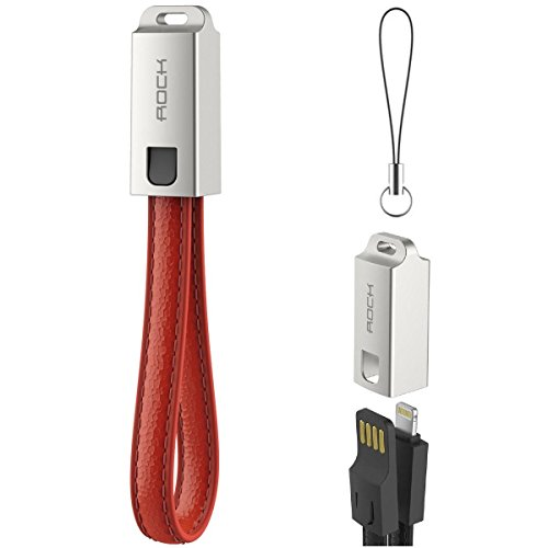 ROCK Keychain Foldable USB Cable for iPhone 5/6/6s/7/8/X/IOS device Leather Cable Keychain (RED)