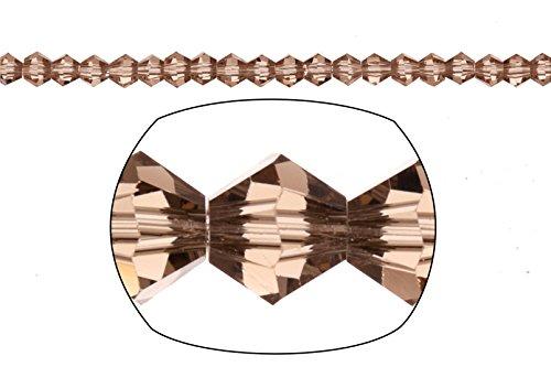 Crystal Bead, 16-Facet Bicone Cut, Greige, 3mm sold per 16inch string (2string bundle), SAVE $1 (Bicone Greige)