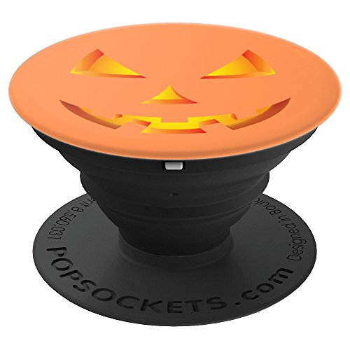 Scary Pumpkin Halloween Jack O Lantern Face Orange - PopSockets Grip and Stand for Phones and -
