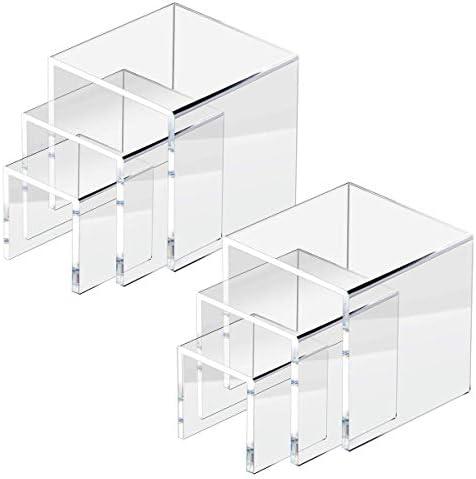 HIIMIEI 2 Pack de acrílico escaparate Vertical, Soporte de exhibición para Pedestal de joyería (5x5x5 Pulgadas, 6x6x6 Pulgadas, 7x7x7 Pulgadas) x2: Amazon.es: Hogar