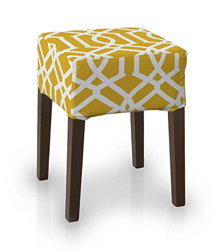 Miraculous Dekoria Ikea Nils Stool Cover White Pattern On Yellow Pdpeps Interior Chair Design Pdpepsorg