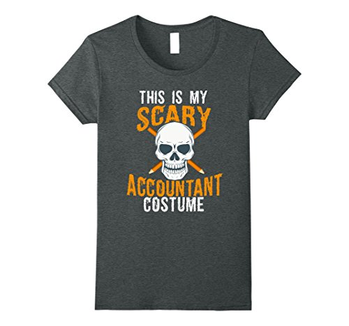 Womens Funny Scary Accountant costume Tee shirt for Halloween 2017 Small Dark (Funny Women's Halloween Costumes 2017)