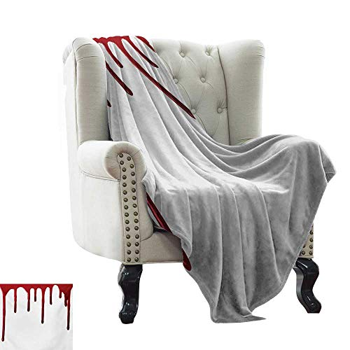 LsWOW Weighted Blanket Horror,Flowing Blood Horror Spooky Halloween Zombie Crime Scary Help me Themed Illustration,Red White Lightweight Microfiber,All Season for Couch or Bed 30