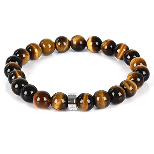 Three Keys Jewelry 8mm AAAA Natural Tiger Eye Gemstone Beads Bracelet Semi Precious Handmade Gem Stone Healing Beads Meditation Energy Stretch Bracelet Unisex 7
