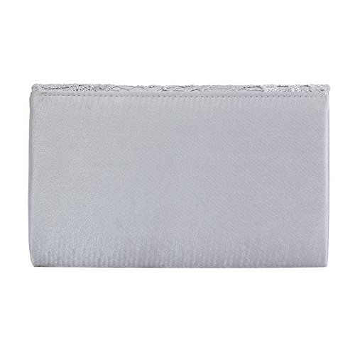 Shoulder Wedding Prom Ladies Clorislove Evening Bag Satin For Silver Lace Envelope Bag Handbag Bridal Clutch q0PRBw0