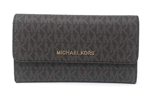Michael Kors Jet Set Travel Large Trifold Signature PVC Wallet (Brown/Mulberry)