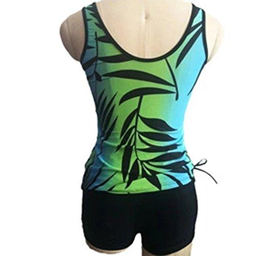 Del Due Tankini Boyshort Signore Beachwear Nuoto Vestito Delle Stampato Pezzi Dimensioni Più Da Bagno Delle Costume Con Xinvision Donne Verde Di Swimwaer Impostate 5ZvwX5x