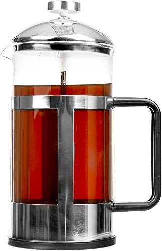 Professional French Press Coffee Maker - Stylish 34 Oz Stainless Steel & Glass French Press Coffee Press & Tea Maker 8 Cups