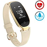 Fitness Tracker for women Activity Watch and Heart Rate Monitor IP67 Waterproof Smart Bracelet with Sleep Monitor Pedometer Calorie Compatible with Android and IOS Smartphone(Gold)